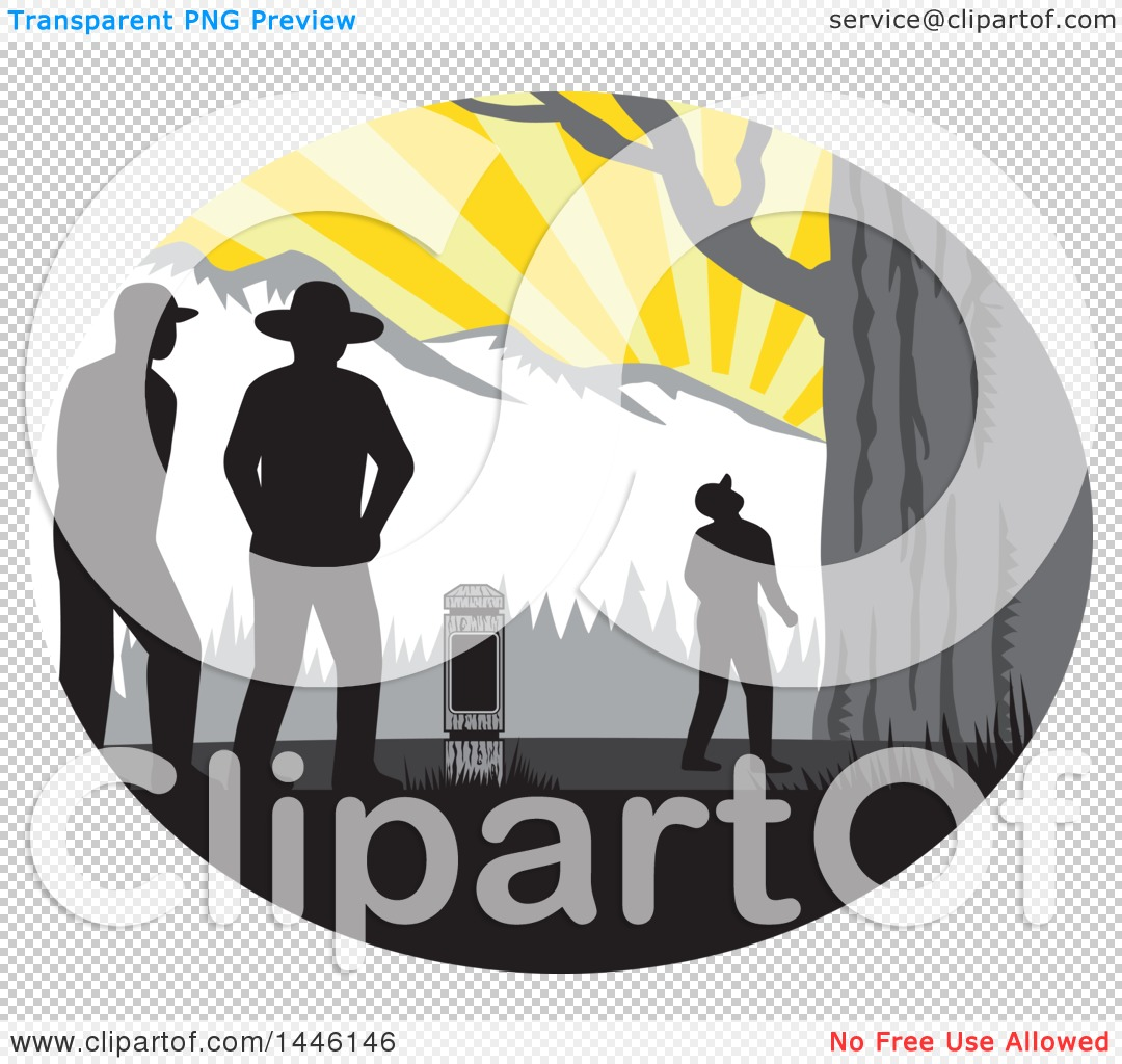 Clipart of a Retro Woodcut Hiker Looking up at a Giant Tree.