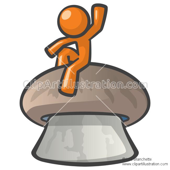 ClipArt Illustration Orange Man Sitting on a Giant Mushroom.