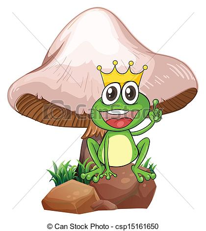Clipart Vector of A king frog near the giant mushroom.