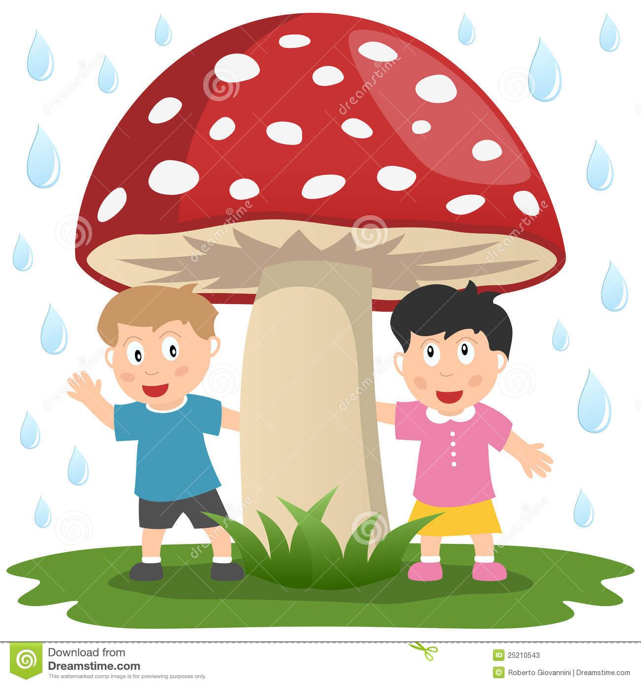Kids Under A Giant Mushroom Stock Photos.