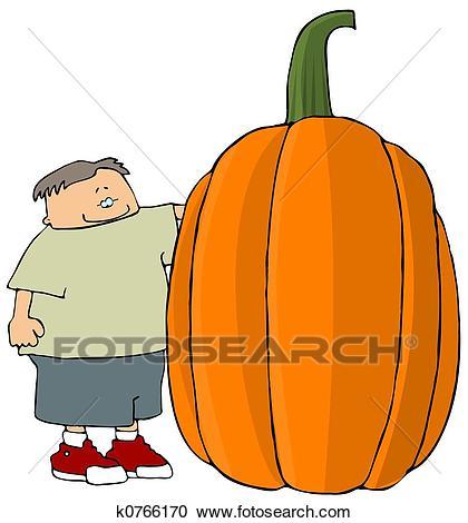 Boy With A Giant Pumpkin Clipart.