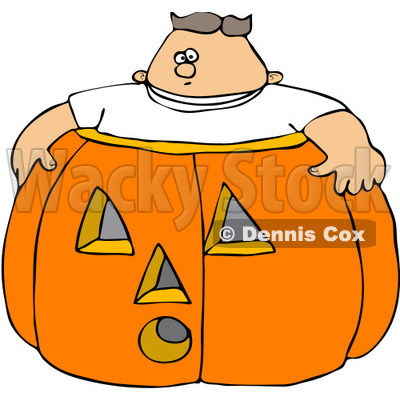 Free (RF) Clipart Illustration of a Chubby Boy In A Giant.