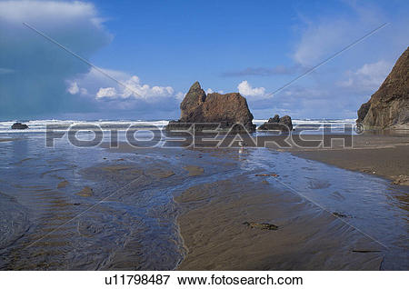 Picture of Giant Rocks Standing On A Muddy Ocean Shore u11798487.