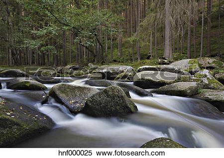 Stock Image of Germany, Bavaria, View of giant rocks in Waldnaab.