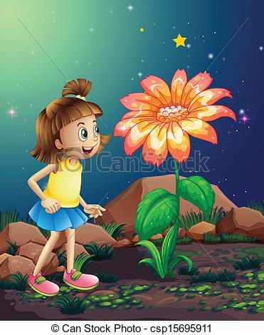 Vector Clip Art of A little girl amazed by the giant flower near.