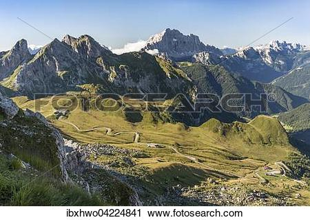 Stock Photography of View from the mountain to the Giau Pass with.
