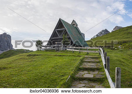 "Stock Images of ""Small wooden chapel, Giau Pass, Dolomite, Veneto."