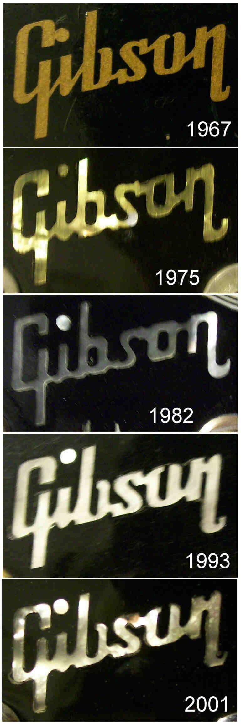 Gibson headstock logo inlays through the years.