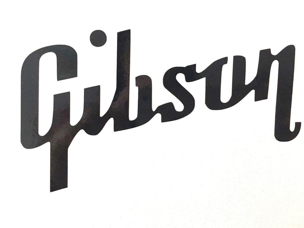 2 x Gibson Guitar Headstock Logo Vinyl Decal Sticker 48mm x.