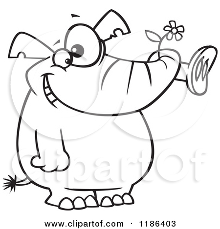 Cartoon of a Black And White Giddy Elephant Holding a Flower in.