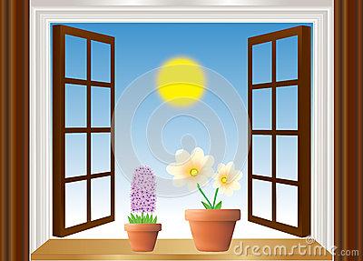 Abbildung Der Blumen Durch Fenster Stockfoto.