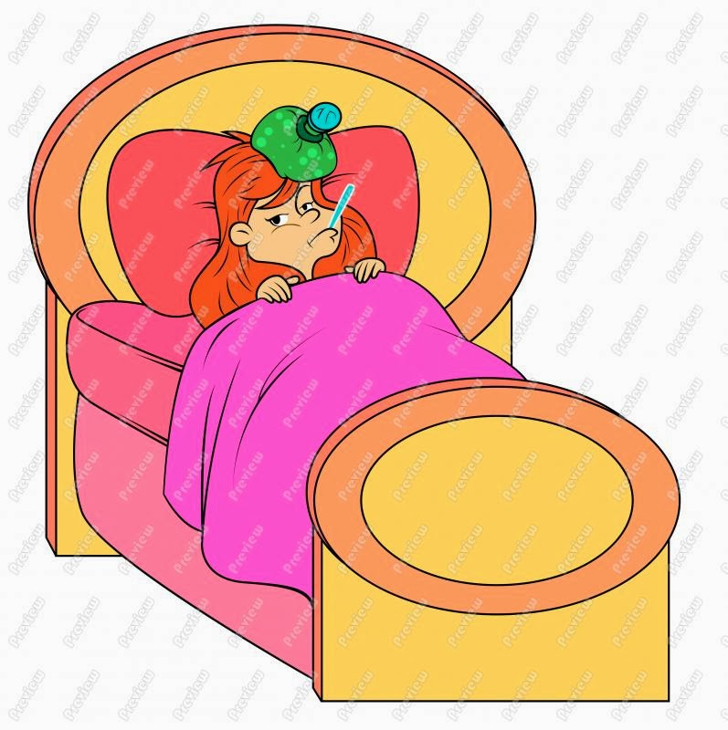 Sick Girl In Bed Clipart.