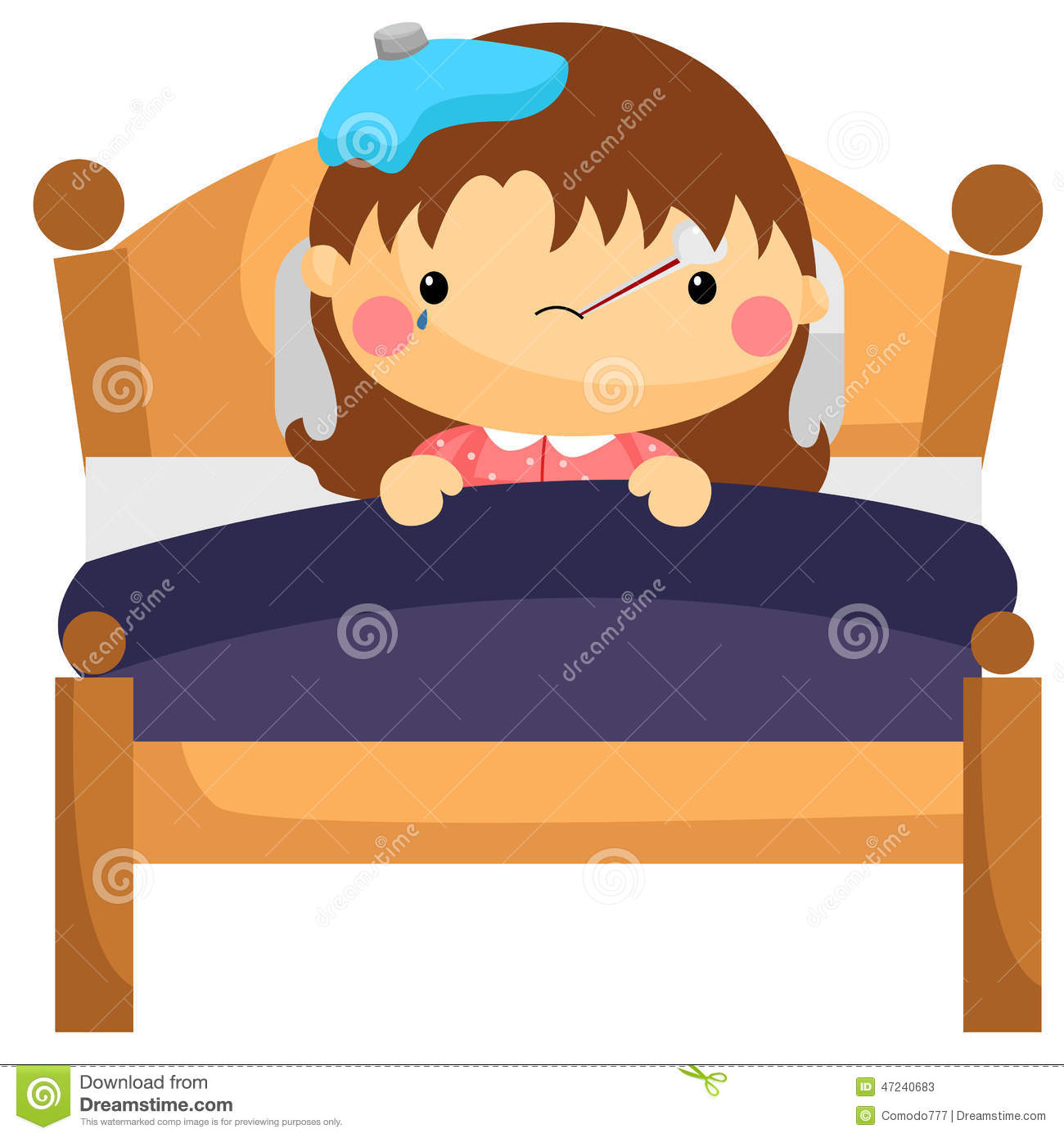 Girl sick in bed clipart.