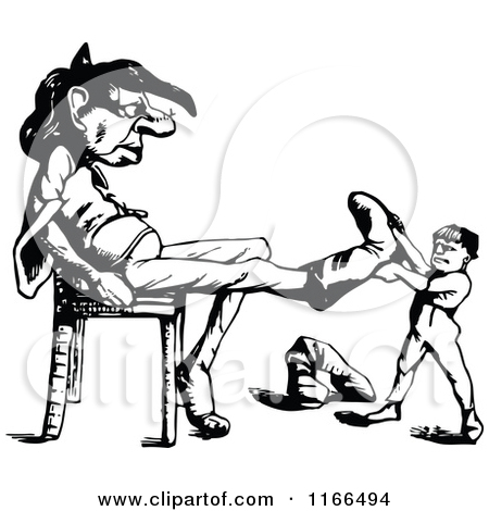 Clipart of a Retro Vintage Black and White Boy Hugging a Giants.