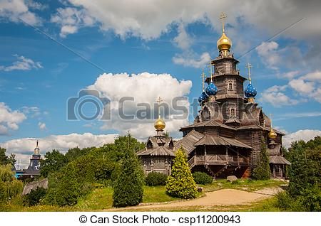 Stock Photo of Wooden Russian church in Gifhorn. csp11200943.