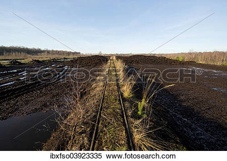 "Stock Image of ""Peat cutting area and rail tracks to transport."