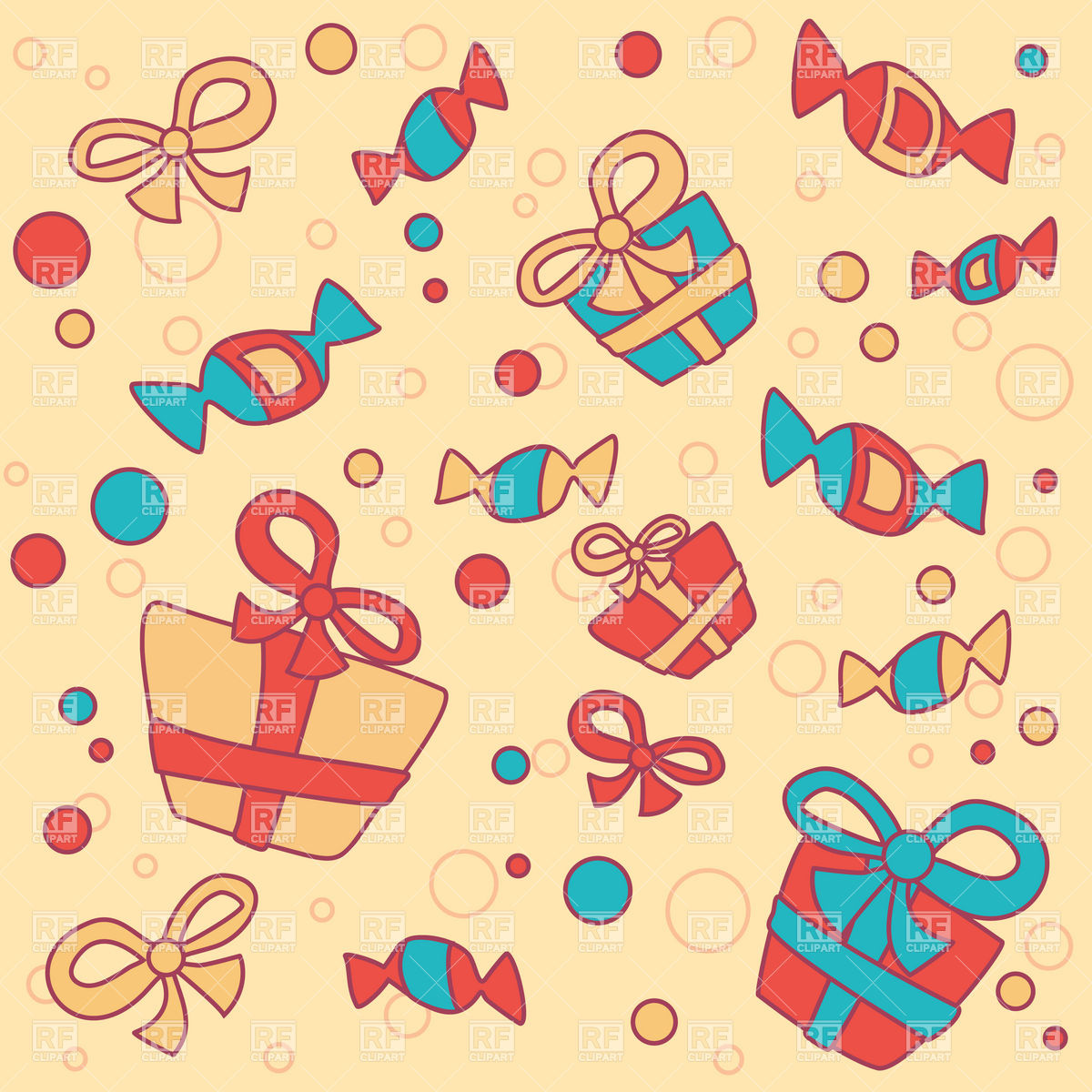 Free download Funny background with gifts and sweets Vector.