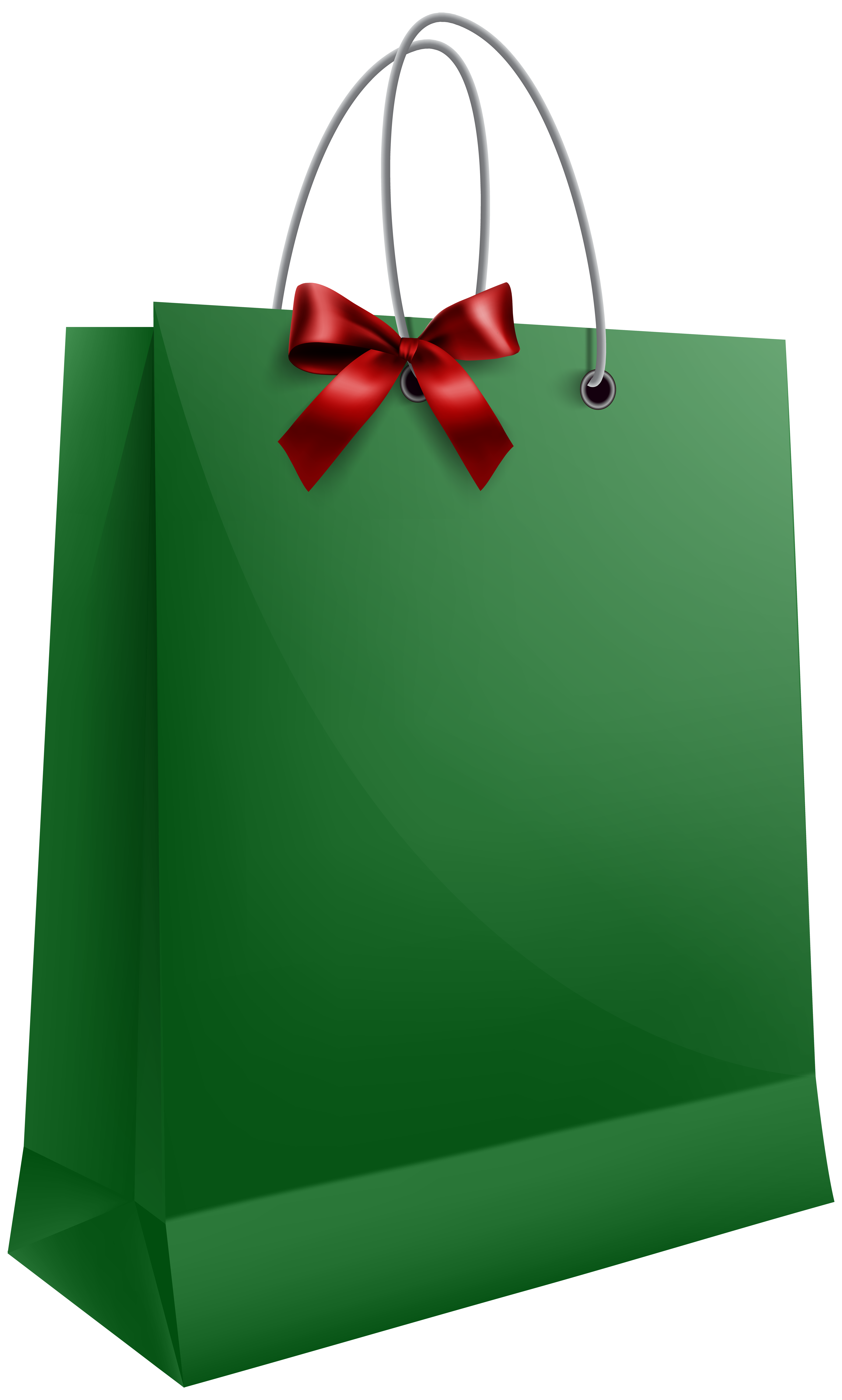 Green Gift Bag with Bow PNG Clip Art Image.