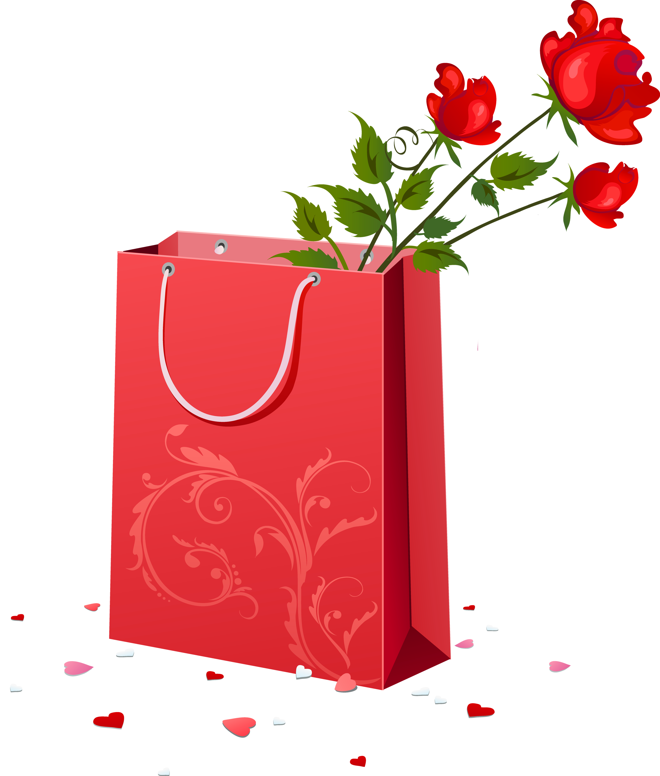 Red Gift Bag with Roses PNG Clipart.