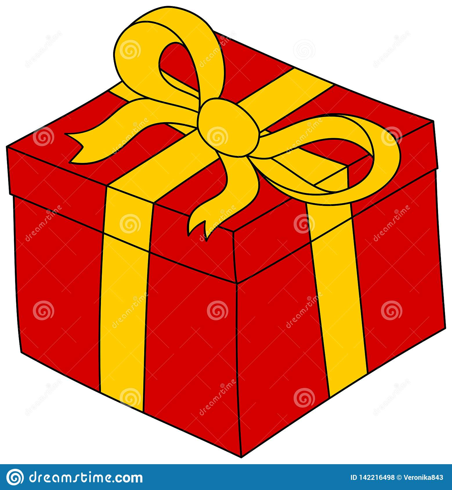 Cartoon Red Gift Box With Yellow Ribbon. Present Clipart Stock.