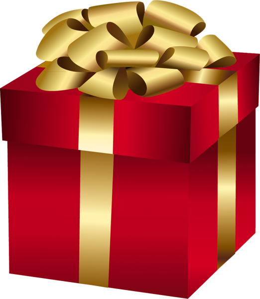 Large Red Gift Box with Gold Bow.