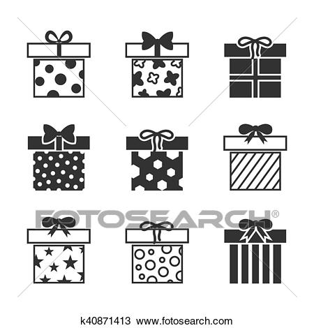 Gift boxes vector icons set in black and white Clipart.