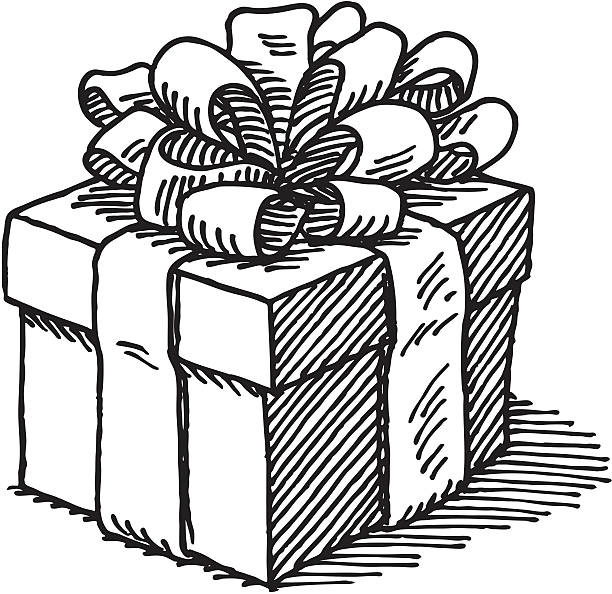 Best Gift Box Black And White Illustrations, Royalty.