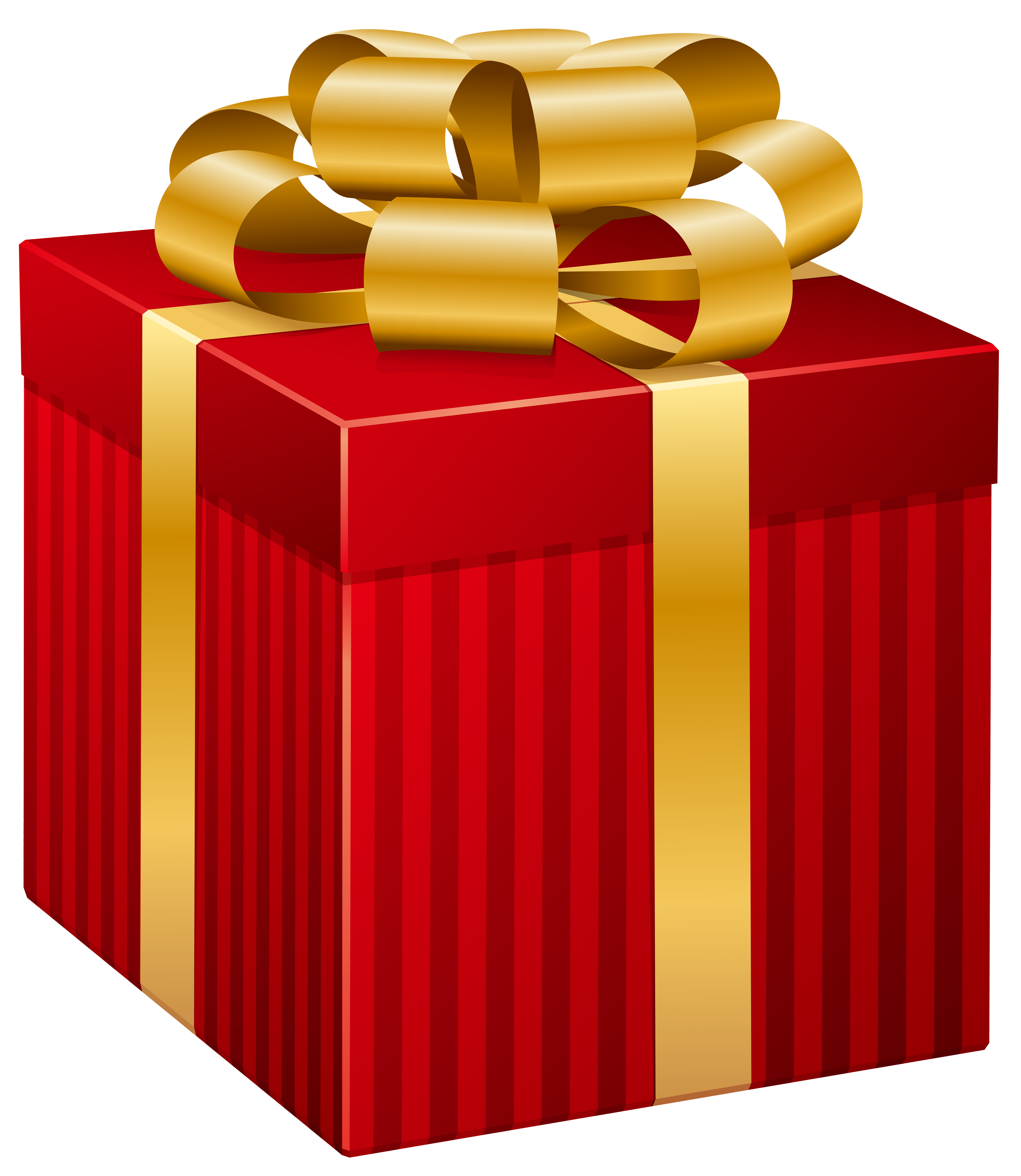 Red Striped Gift Box PNG Clip Art Image.