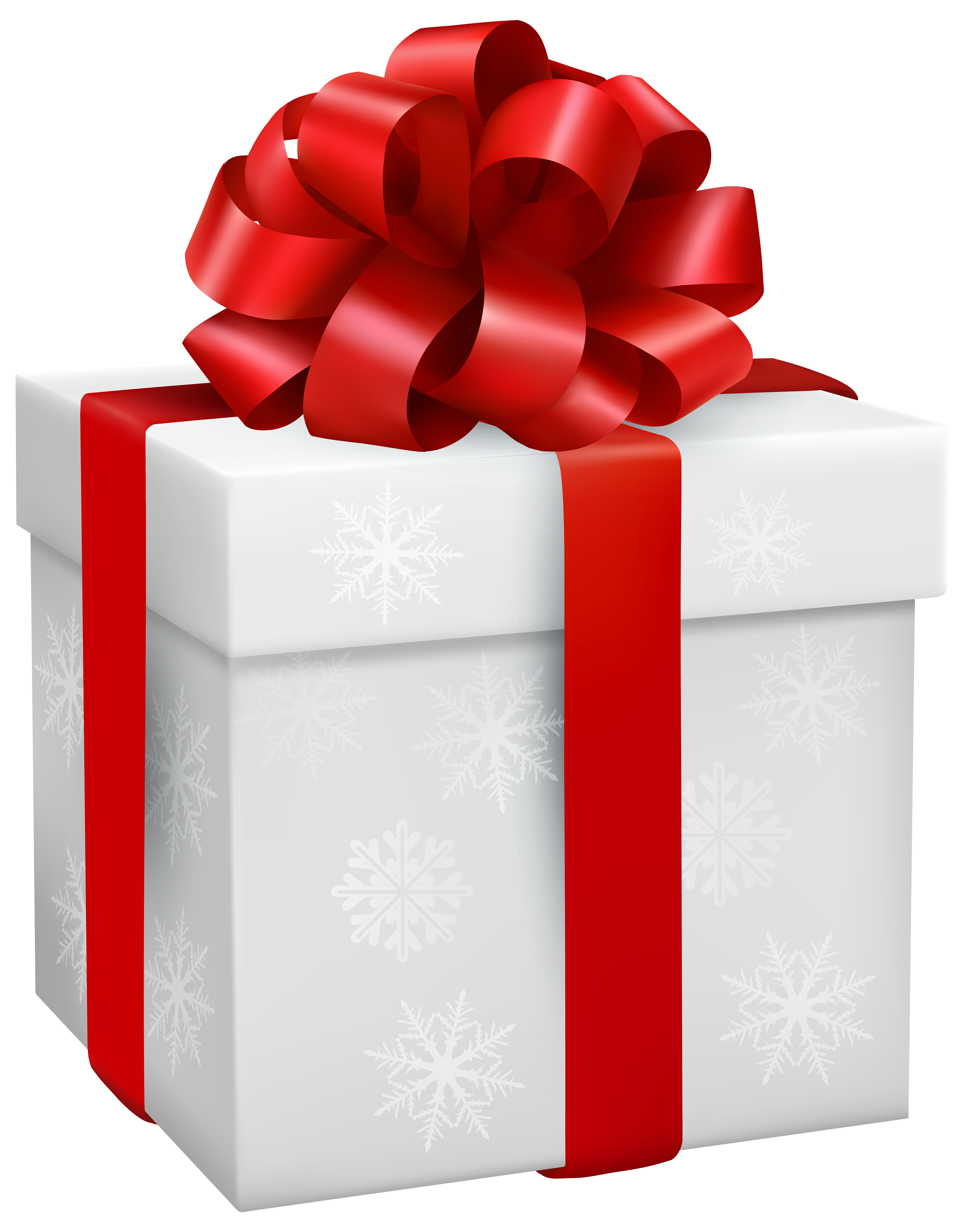 Gift Box with Snowflakes PNG Clipart.