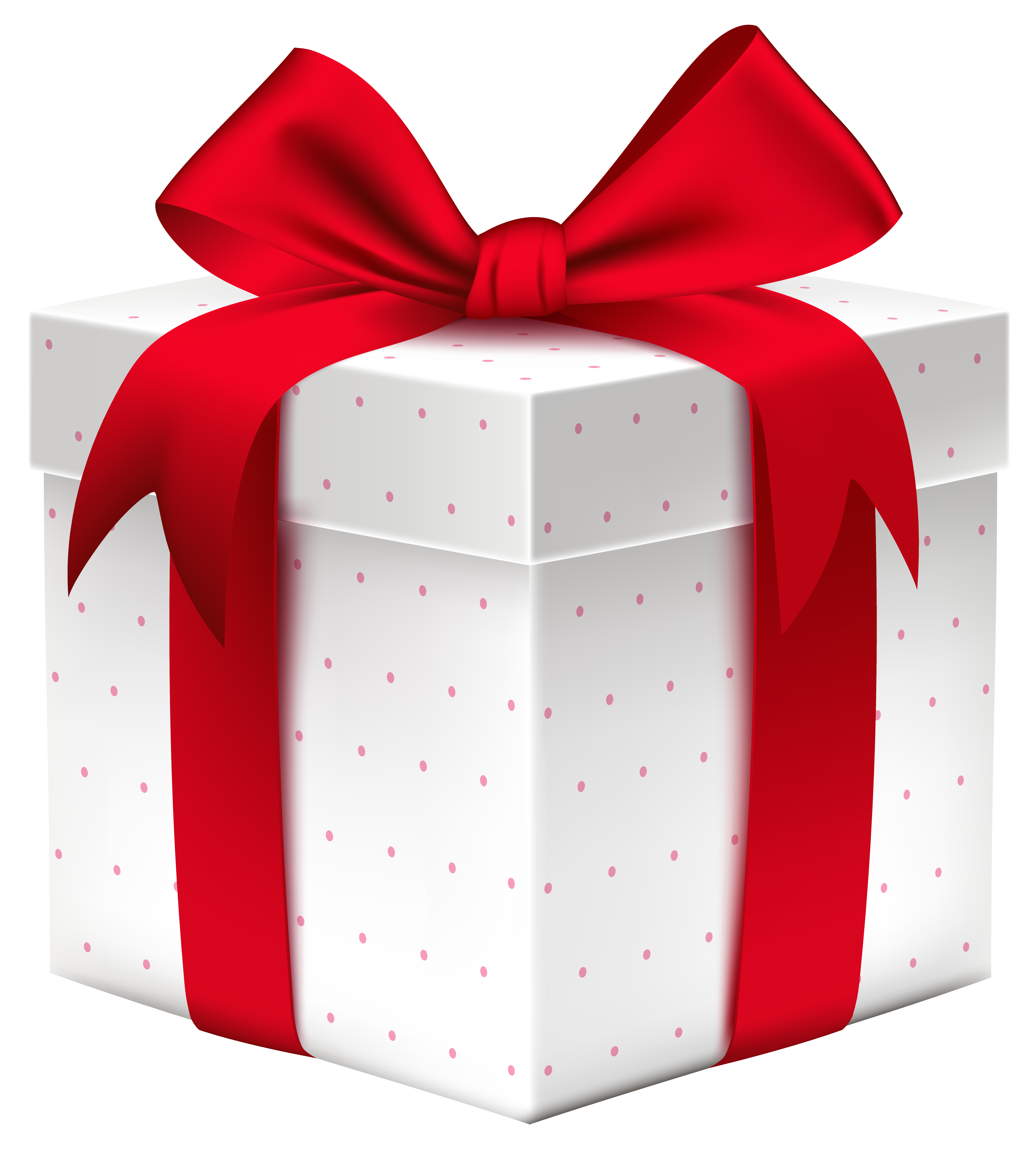 White Gift Box with Red Bow PNG Image.