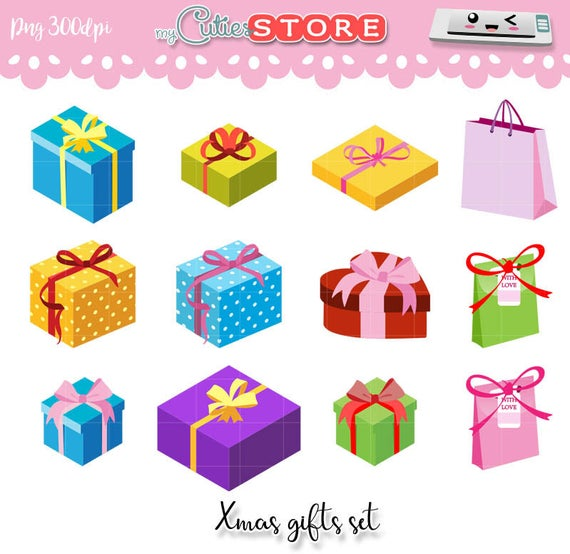Isometric gift boxes xmas clipart collection.