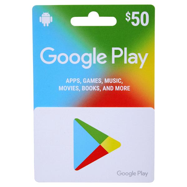Google Play $50 Gift Card.