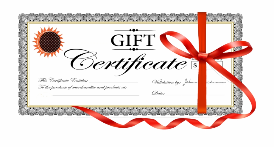 Gift Certificate Sample Image.