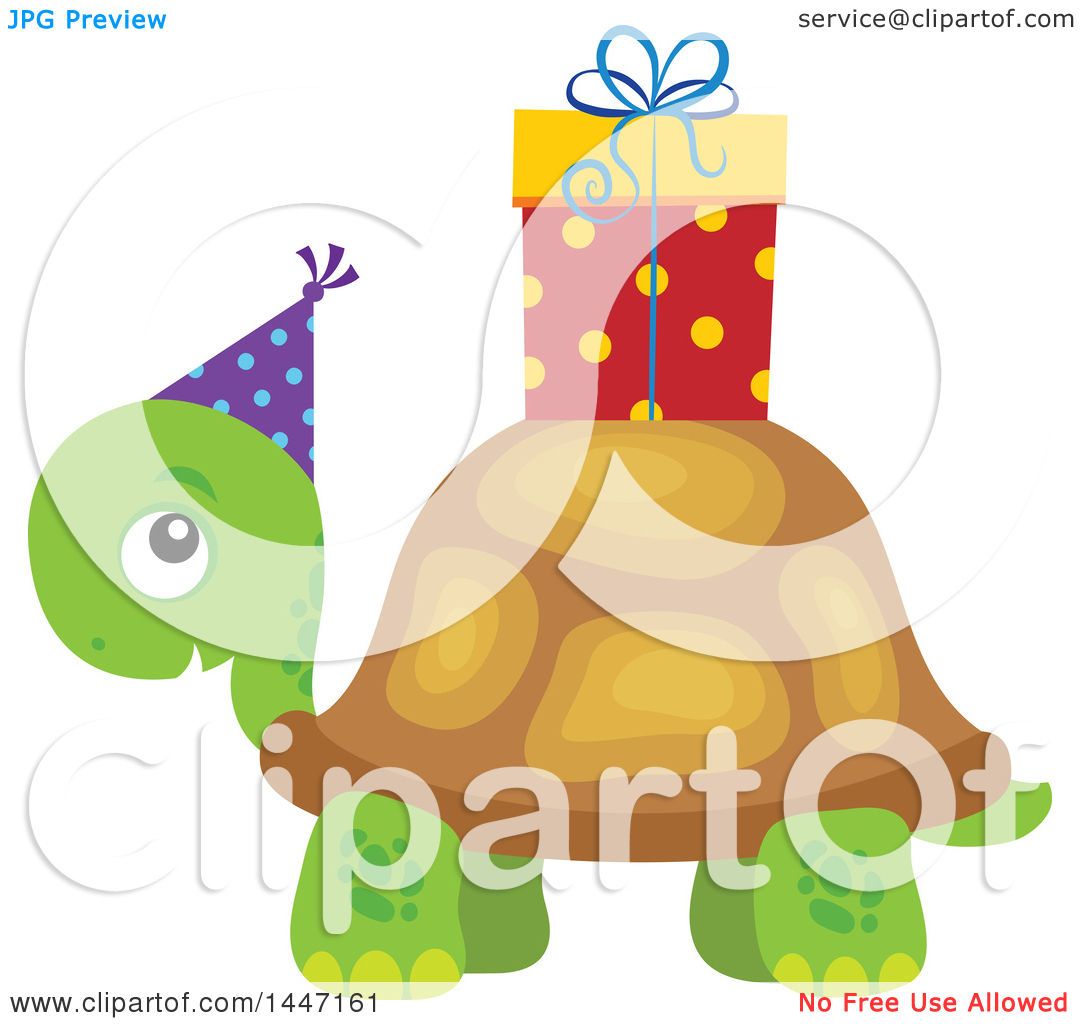 Clipart of a Cute Party Tortoise Turtle Wearing a Party Hat, with.