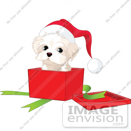 Clip Art Illustration Of A West Highland Terrier Puppy Wearing A.