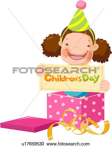 Clipart of party hat, elementary school student, unwrapped.