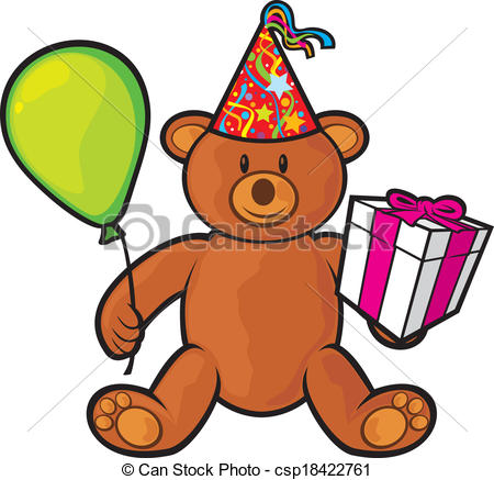 Clip Art Vector of teddy bear toy with gift box, birthday hat and.