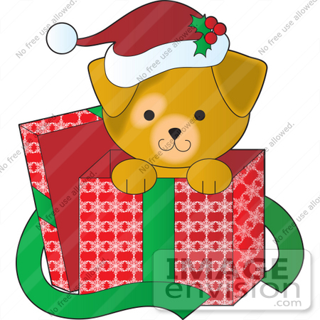 Christmas Clipart Of A Cute Puppy Wearing A Santa Hat, Peeking Out.