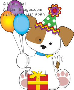 Cute Puppy Dog with Balloons, Party Hat and Gift, Having a.