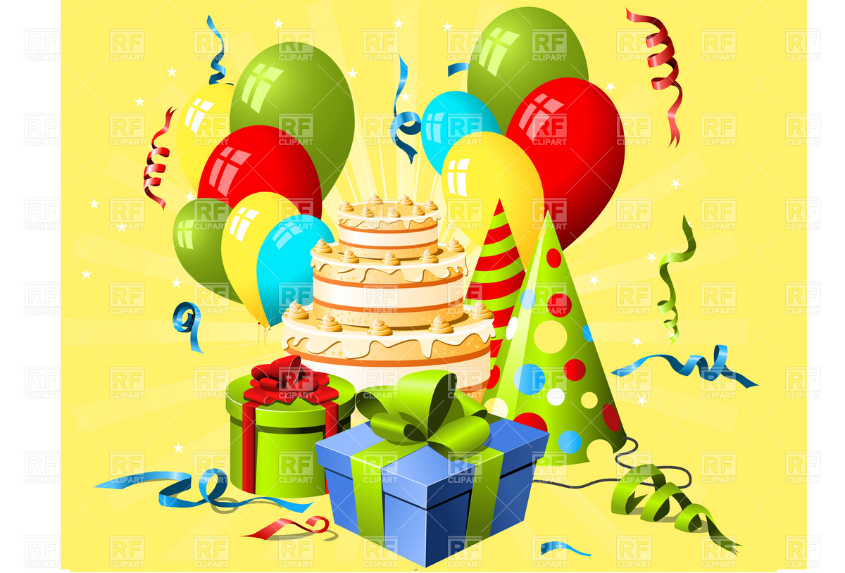 Birthday hat, gift and cake with balloon and paper streamer Vector.