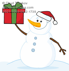 A Grinning Snowman In a Santa Hat Holding a Christmas Gift Clipart.