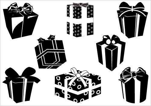 Christmas Gift Box Silhouette Clip Art Pack.