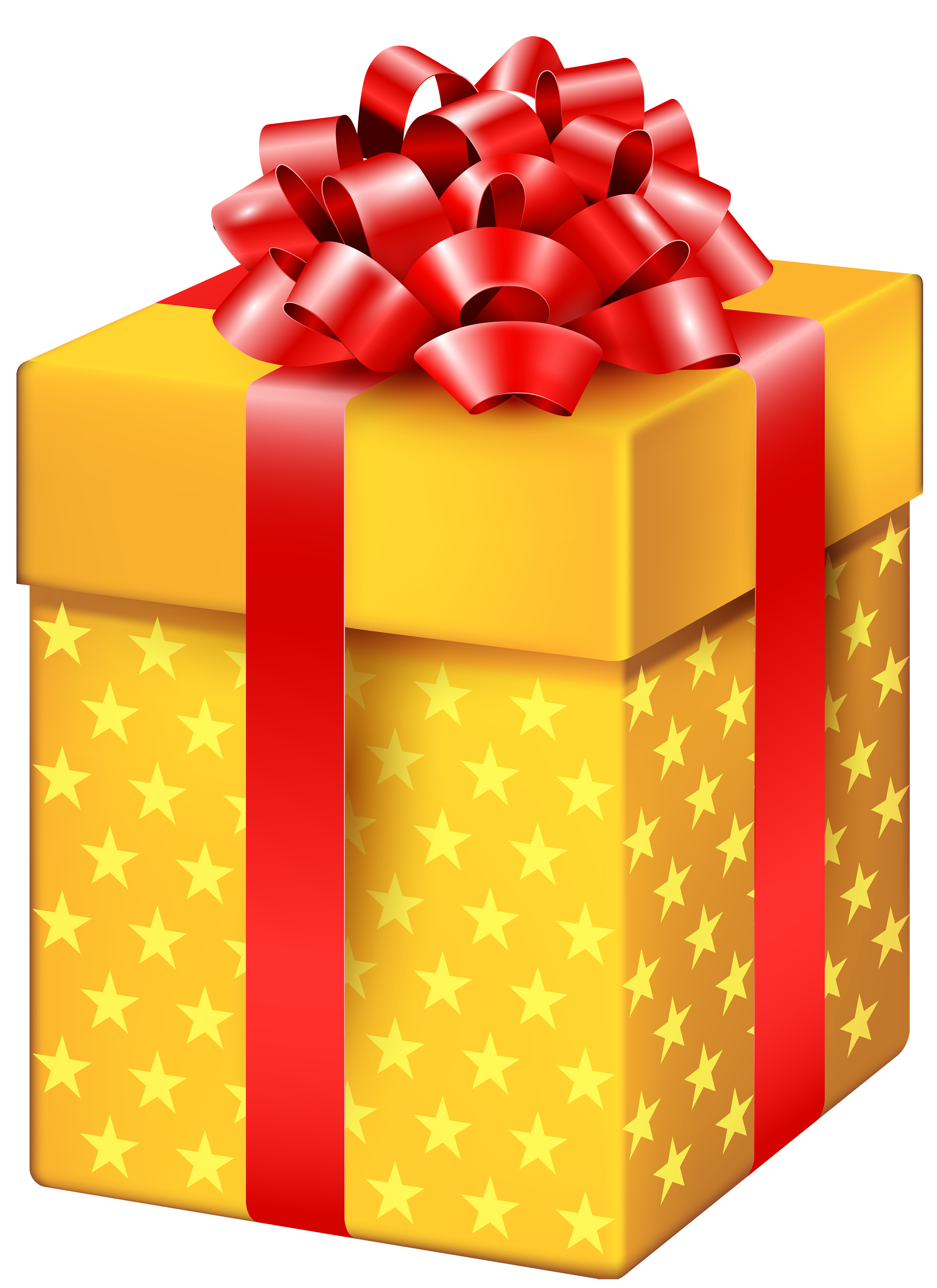 Yellow Gift Box with Stars PNG Clipart.