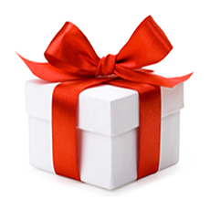 White box with red bow gift png #39678.