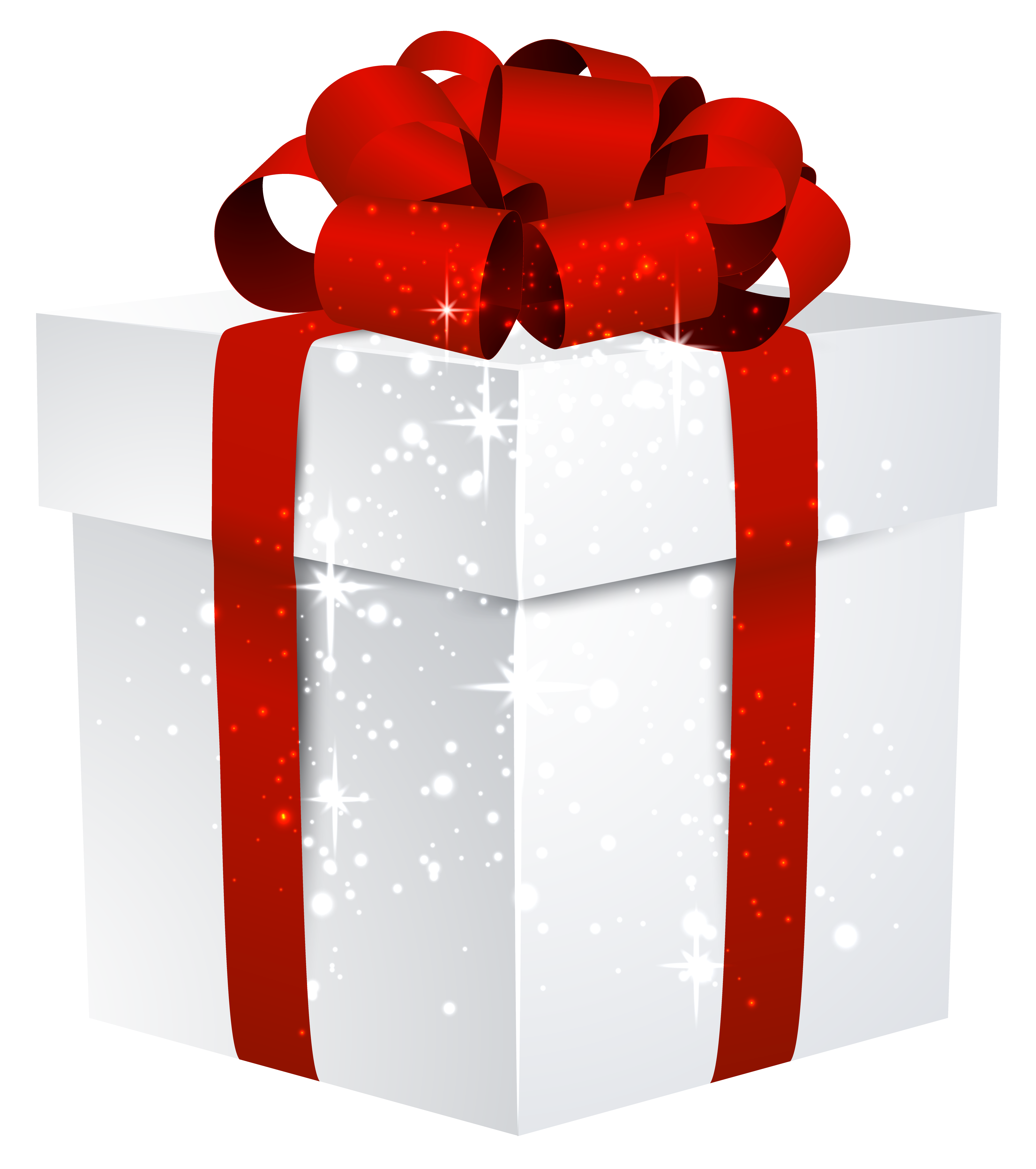 White Shining Gift Box with Bow PNG Clipart Image.