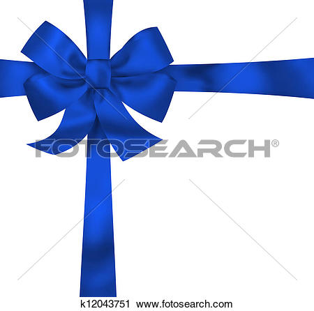 Clipart of Blue gift ribbon bow isolated on white background.