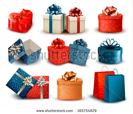 Retro gift box clipart.
