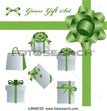 Clipart of Green gift set k3948120.