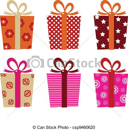 Vector Clipart of Retro gifts set isolated on white.