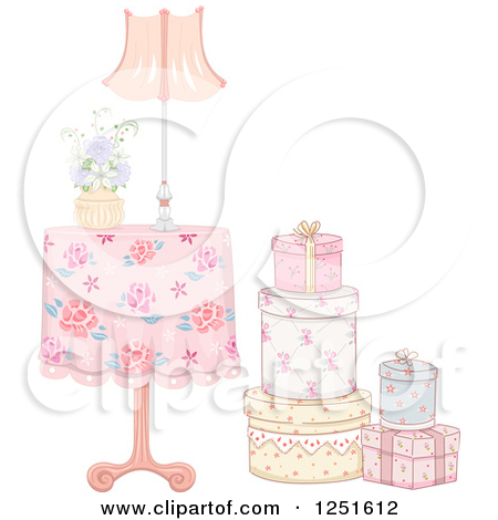 Clipart of a Vintage Table with a Stack of Gift Boxes.